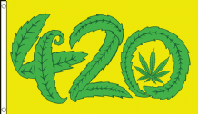 4.20 Cannabis Marijuana Leaf 5'x3' (150cm x 90cm) Flag